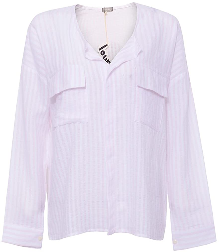 Roshe's Boutique Women's Striped Chambray Pockets Embellished Shirt Henley