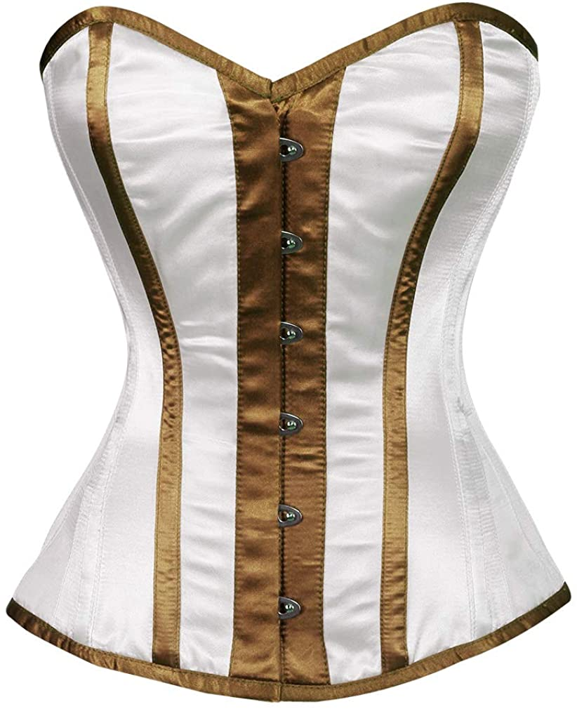 White Satin Brown Stripes Plus Size Bustier Waist Shaper Overbust Corset Costume