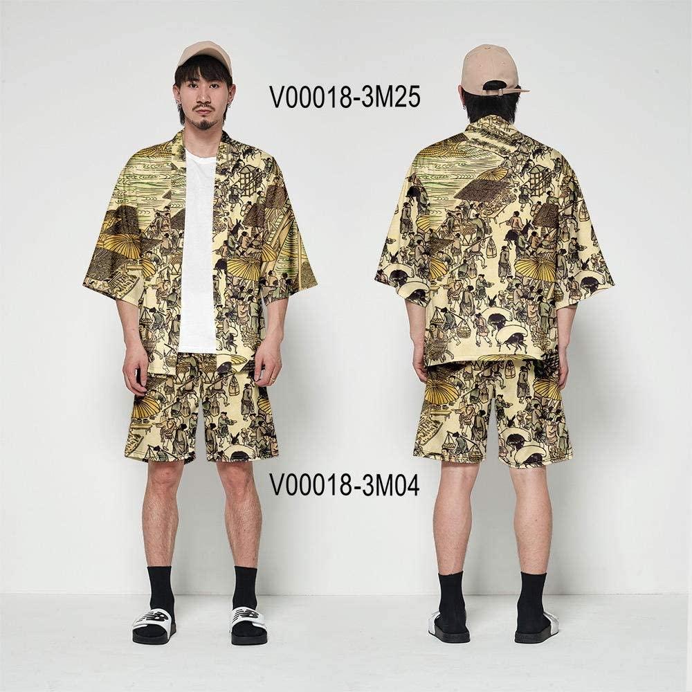 Japanese Kimono Cardigan Men Haori Yukata Male Samurai Costume Clothing Kimono Jacket Mens Kimono Shirt Blouse OBI Clothes Zhaozb (Color : Set 04, Size : XL)