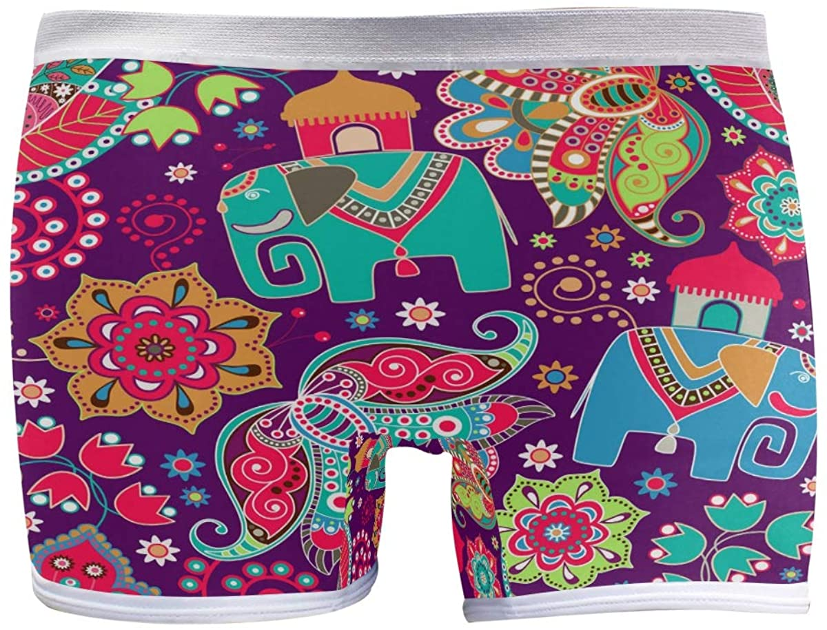 SLHFPX Womens Underwear Boy Shorts Panties Flowers and Elephant Ladies Comfort Boy Shorts Panty
