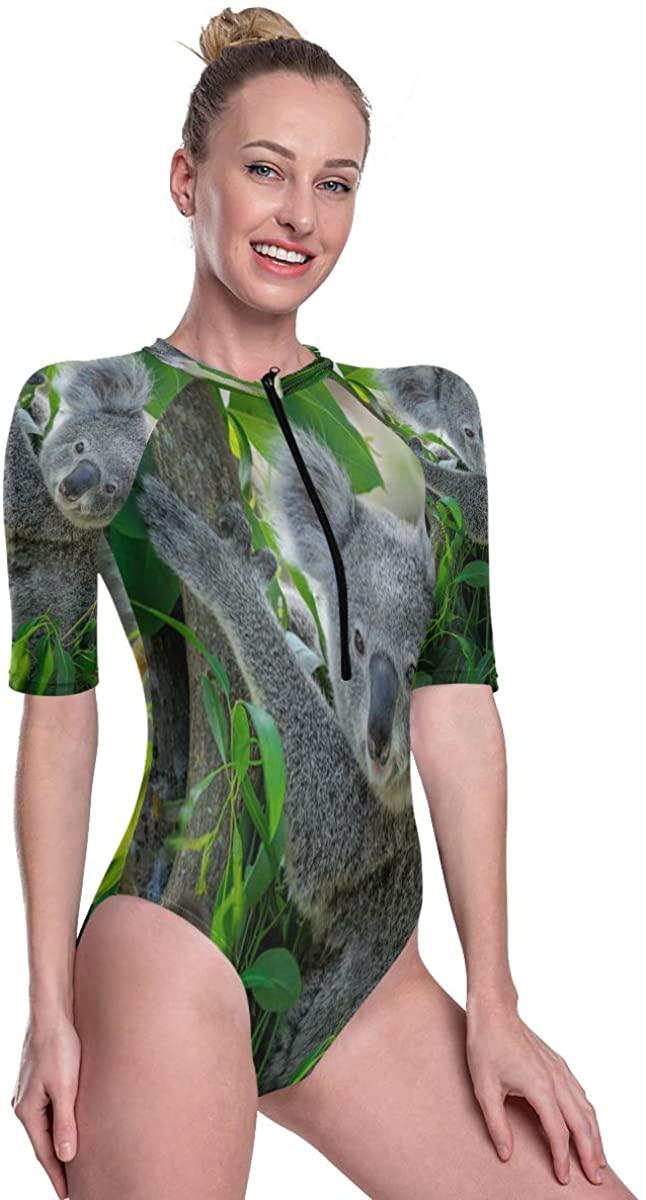 SLHFPX Women's One Piece Short Sleeve Rashguard Surf Swimsuit Koala Bathing Suit