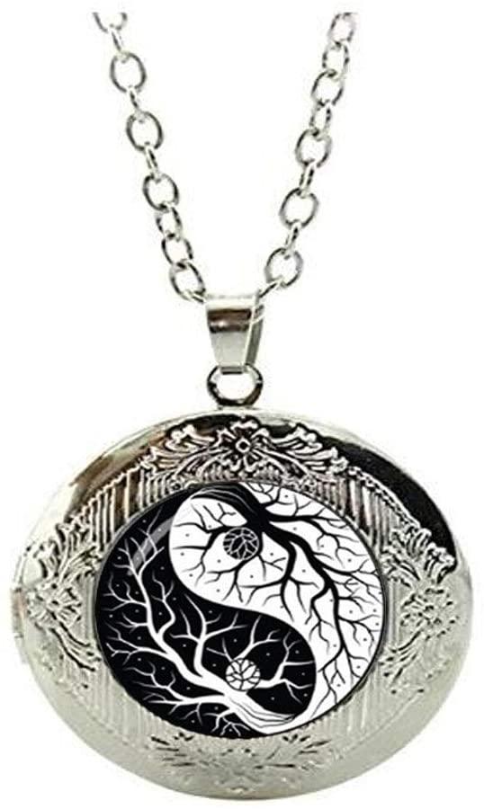 Yin and Yang Taiji Locket Necklace Glass Photo Charm Jewelry Birthday Festival Gift Beautiful Gift