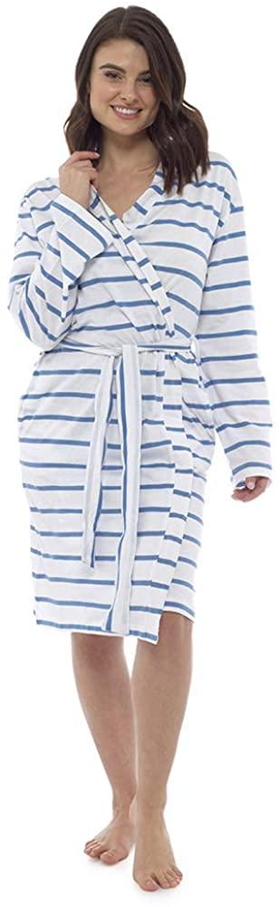 Lora Dora Womens 100% Cotton Waffle Bathrobe Siesta Time Blue Striped UK 12-14