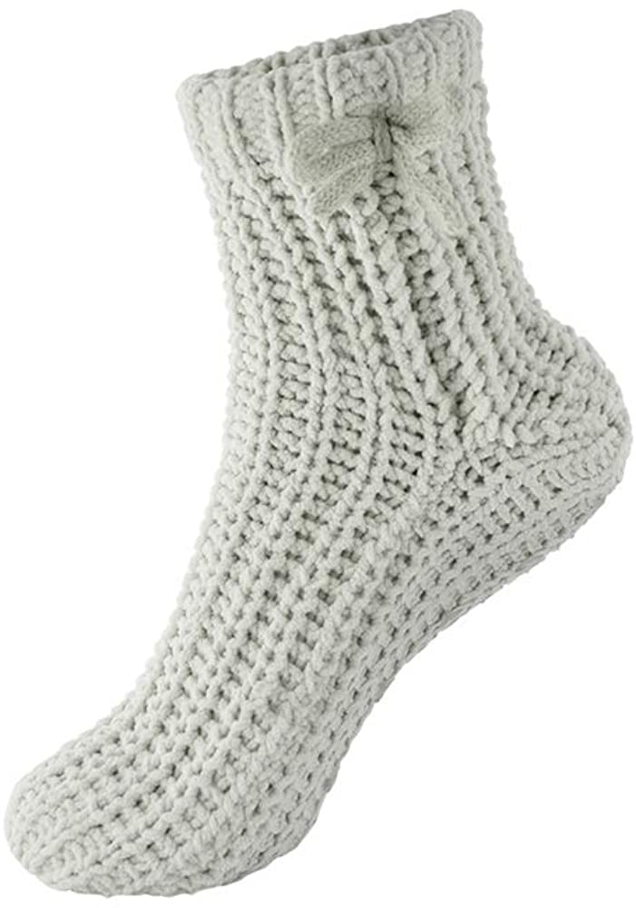 Anti-Slip Bed Socks Grey Cable Knit US One Size