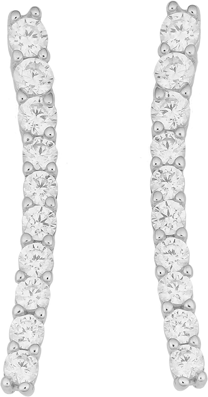 Kooljewelry Sterling Silver with Cubic Zirconia Curved Bar Earrings