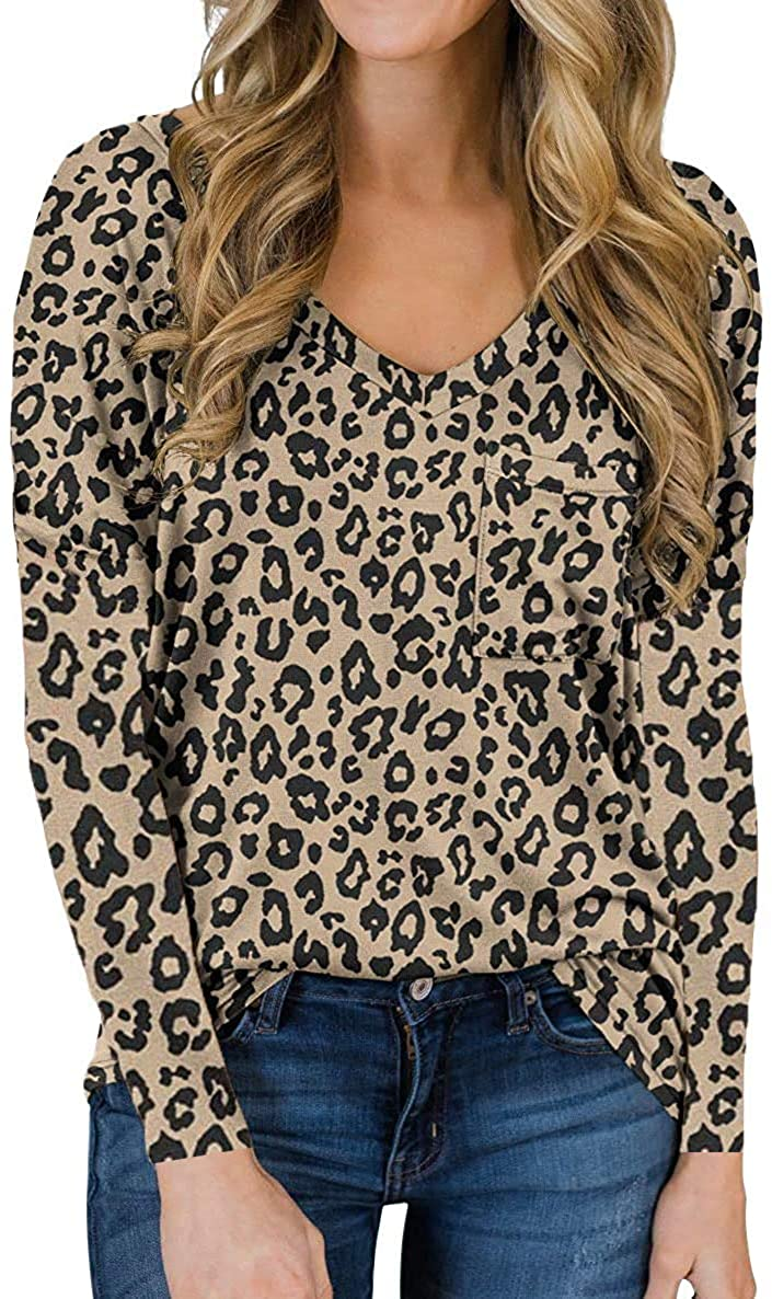Hount Womens Long Sleeve Shirts Casual Leopard Print Tops Loose Tie Dye T Shirts with Pocket
