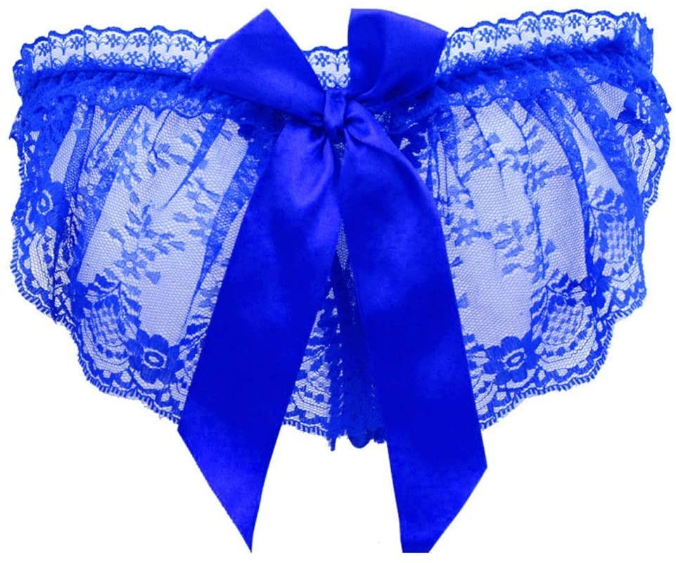 LYS Attractive Underwear,Alluring Underwear One Size Perspective Panties Hollow Hot Thong,Blue,Free Size