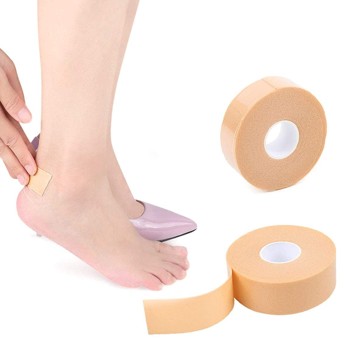 2 Roll Moleskin Self-Adhesive Blister Pads Foot Care Sticker - Anti-Slip Waterproof Multi-Purpose High-Heeled Foam Tape Adhesive Protection Shoes Insoles for Prevention and Healing