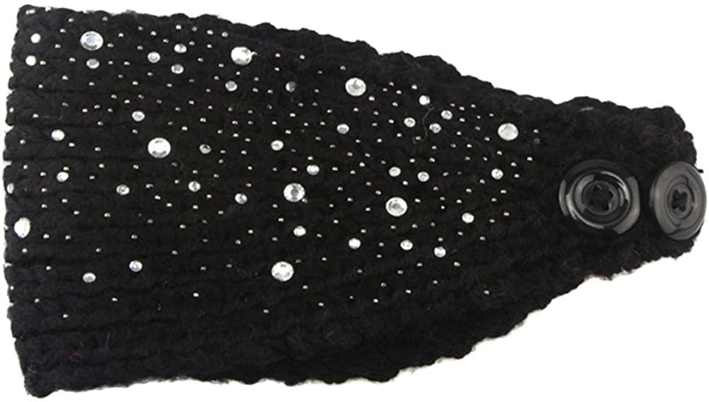 Eliffete Women Fashion Crochet Rhinestone Headband Knitted Hat Cap Headwrap Band