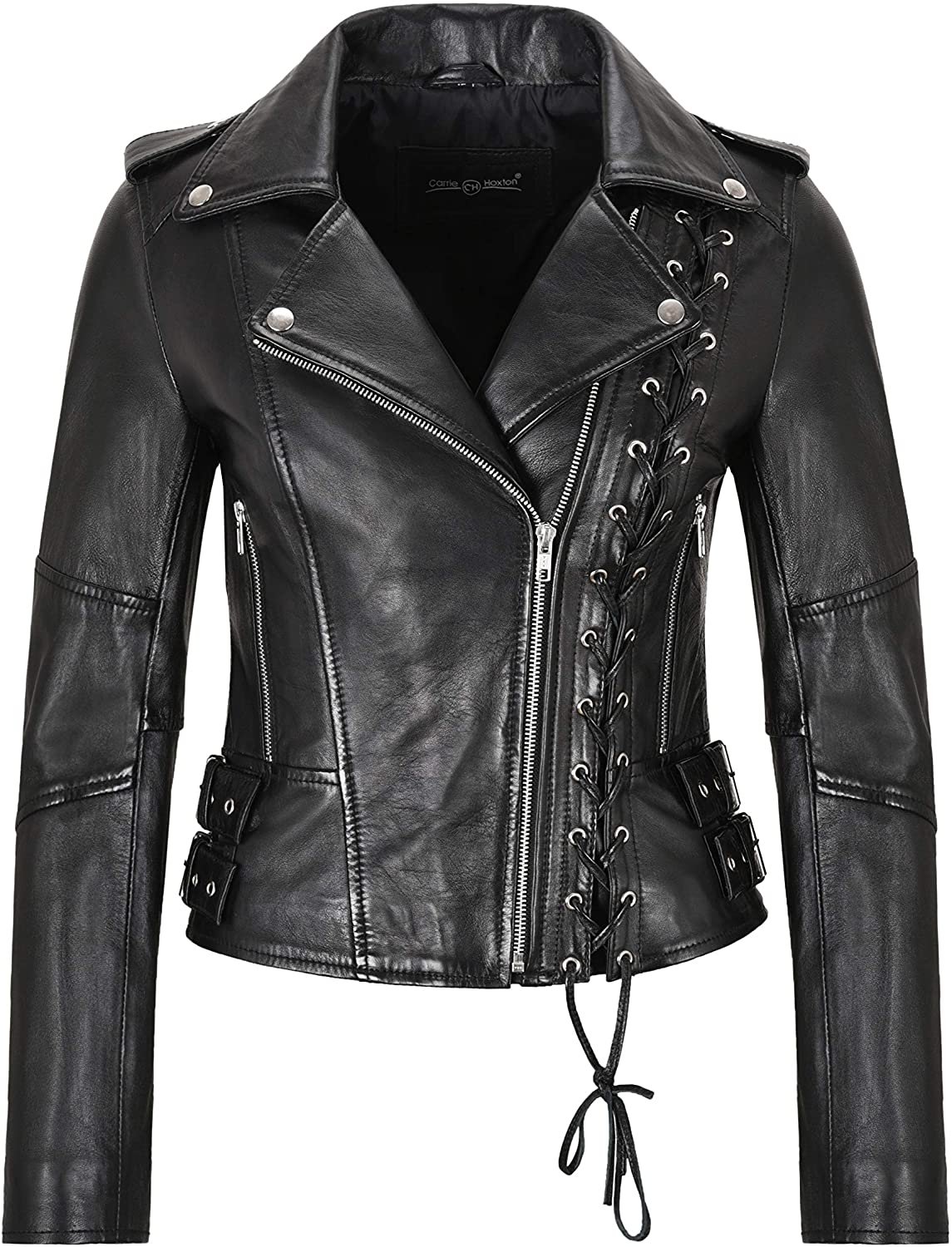 Ladies Biker Jacket Side Laced Stylish Real Leather Gothic Slim Fit Jacket 9755
