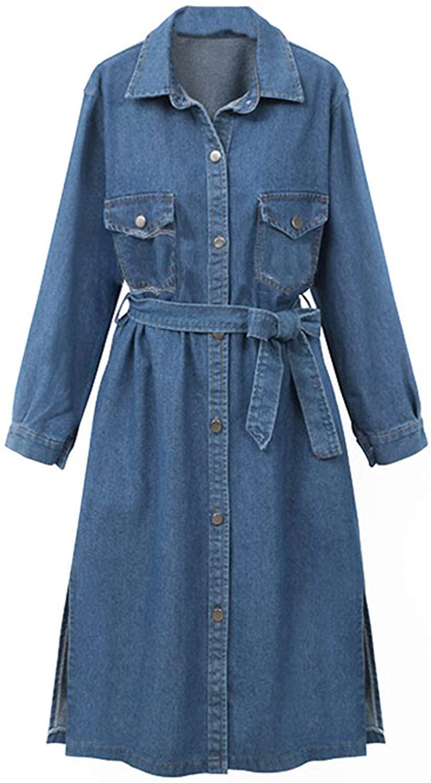 Flygo Women's Denim Shirt Dress Button Down Distressed Jean Blouse Jacket Trench Coat