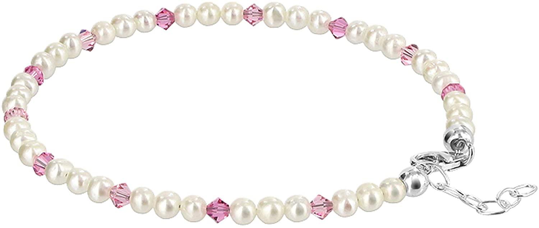 Gem Avenue Freshwater Pearl with Rose Swarovski Elements Crystal Sterling Silver 9 to 10 inch Adjustable Anklet Ankle Bracelets