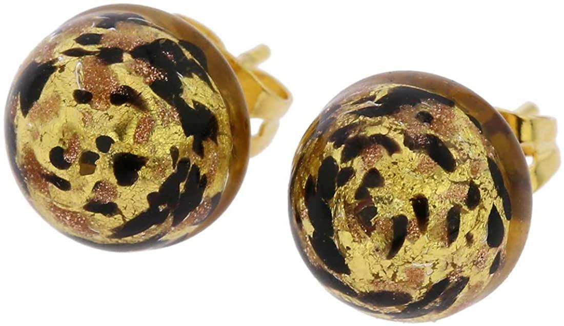 GlassOfVenice Murano Glass Button Stud Earrings - Black Gold Confetti