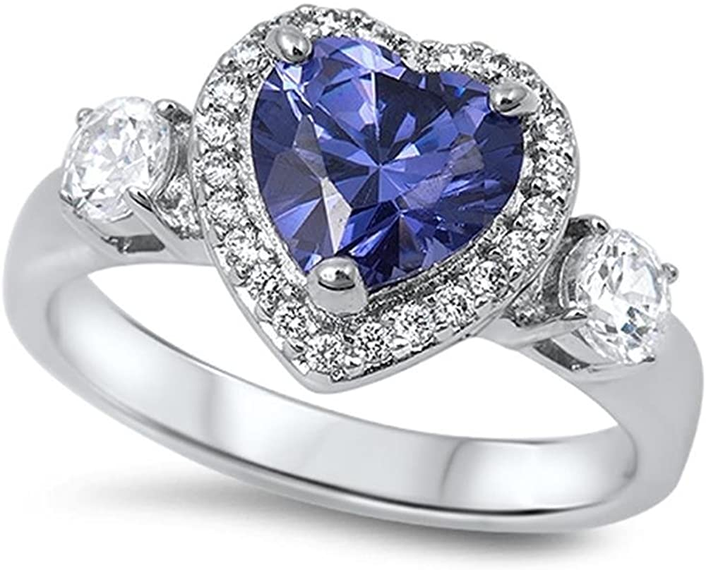 Glitzs Jewels Sterling Silver Heart Ring, 12mm Choose Your Color