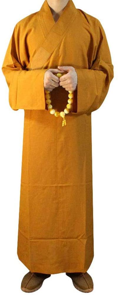 JKGHK Martial Arts Clothing Summer Buddhist Shaolin Monk Robe Cotton Long Robes Gown Kung Fu Uniforms Martial Arts Clothing,Yellow,XXL