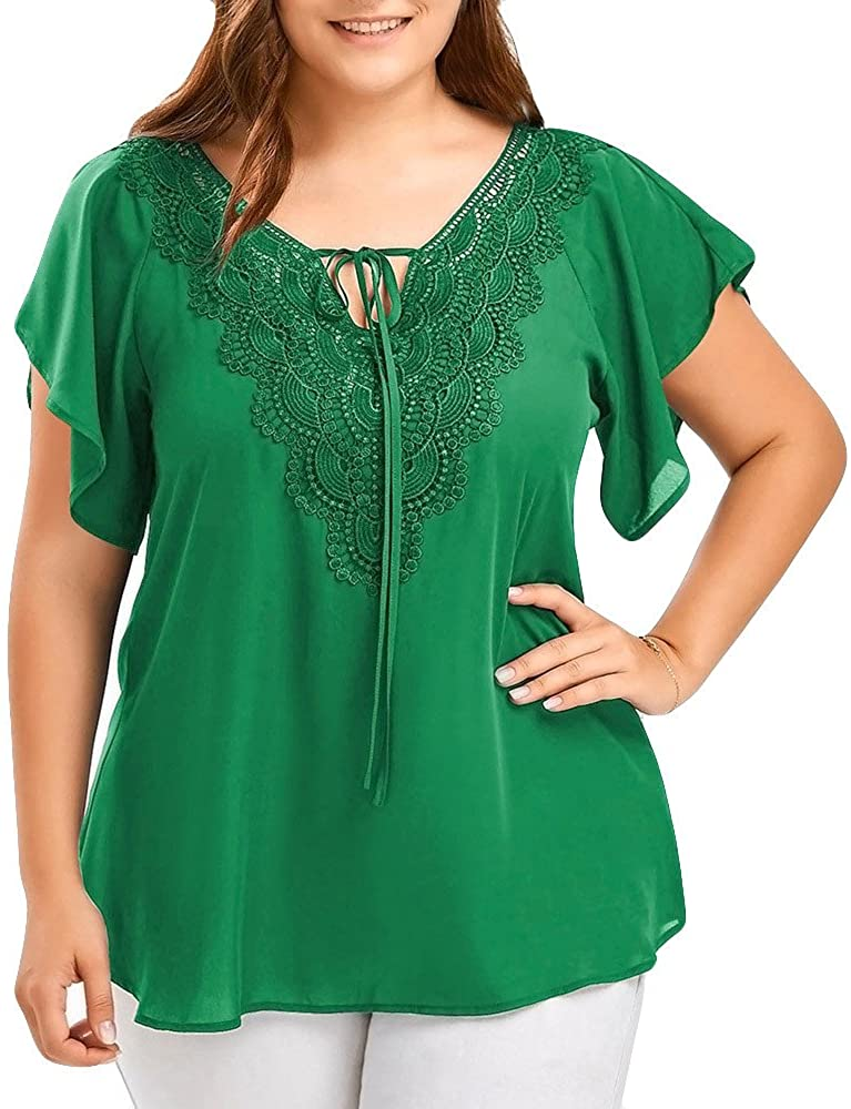 FORUU Plus Size Blouses for Womens, Lace V Neck Sexy Bow Flare Bat Short Sleeve Tops T-Shirt