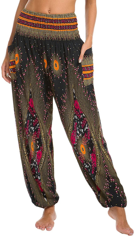 Urban CoCo Women's Peacock Print Smocked Waist Boho Harem Pants