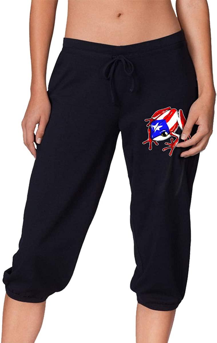 Puerto Rico Flag Frog Women's Seven Point Pants Baggy Harem Pants Trousers