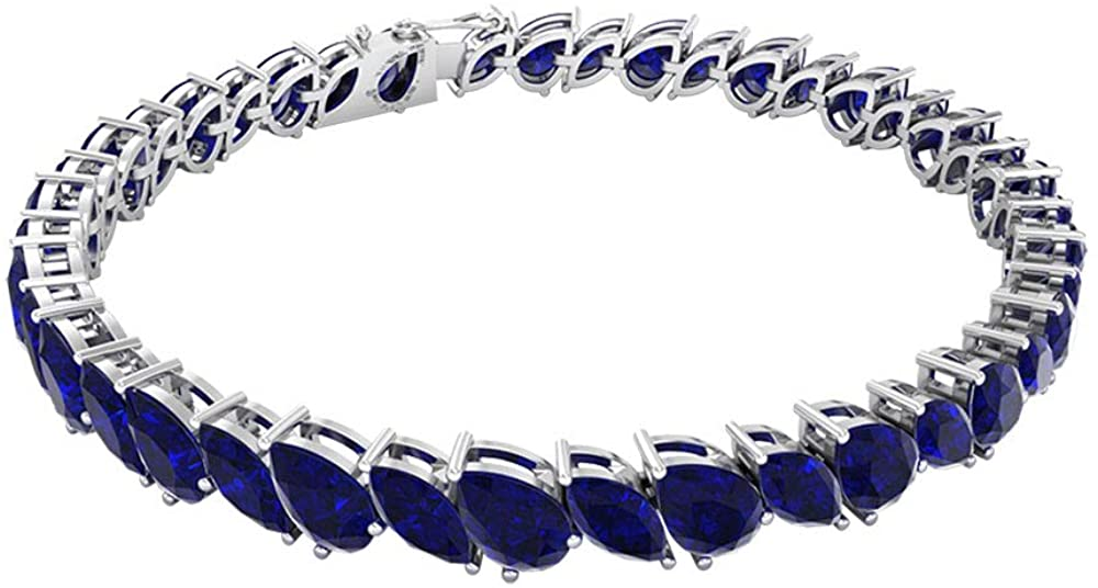 17.85 Ct Certified Pear Shape Sapphire Diffused Bracelet, Statement Women Bracelet, Marquise Shape Gemstone Bracelet, Classic Wedding Tennis Bracelet