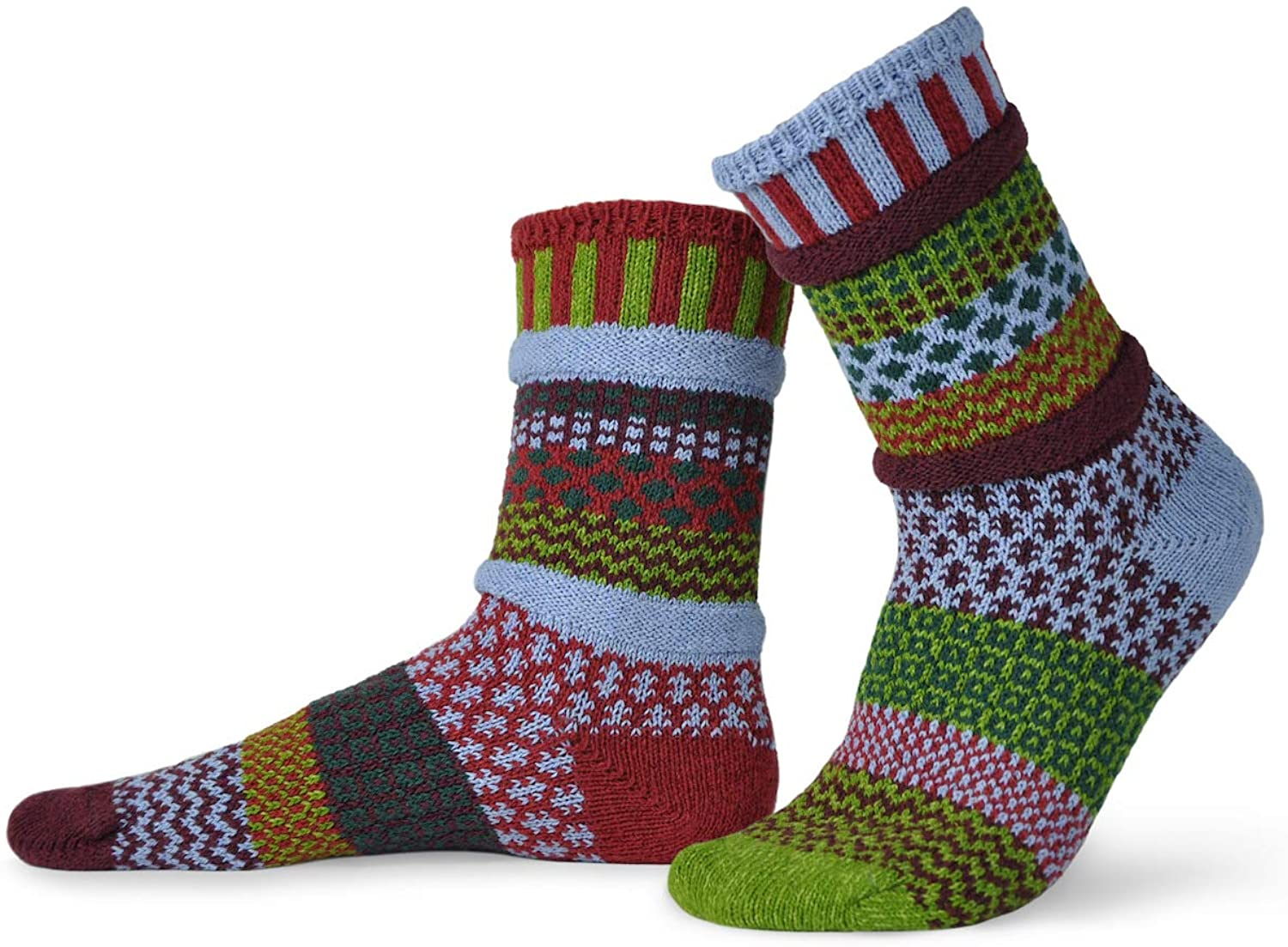 Solmate Socks - Mismatched Crew Socks; Made in USA; Elderberry Small