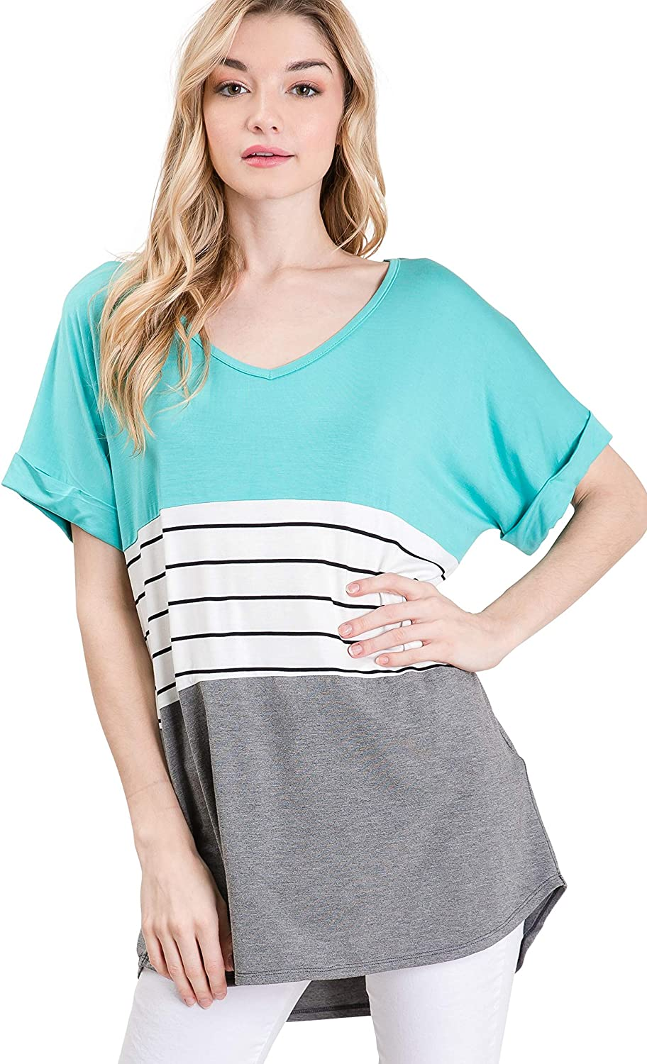 Auliné Collection Womens Oversized Color Block Short Sleeve Knit Top Shirt Tunic