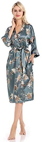Women's Satin Robe Kimono Dressing Gown Short Bridesmaid Wedding Bathrobe Sleepwear