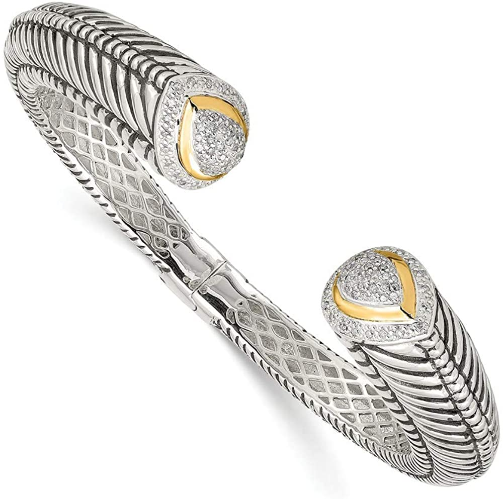 Solid 925 Sterling Silver with 14k 1/2ct. Diamond Hinged Cuff Bracelet (12mm)