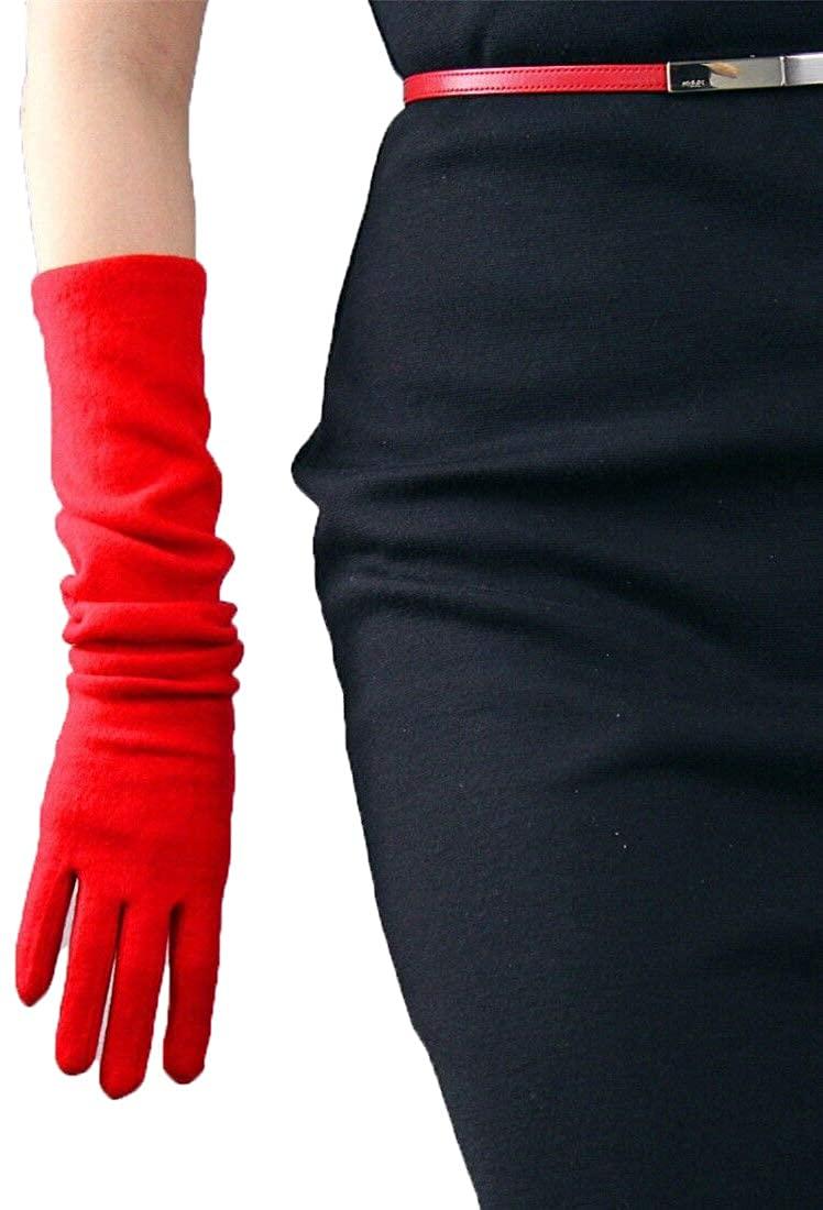 Cashmere Wool Gloves Opera Evening Long Arm Warmers Sleeves Merino Hepburn Red