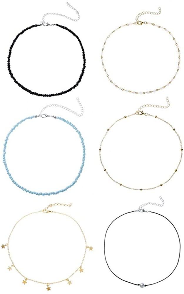 KWHY Bohemian Beaded Star Choker Seed Bead Necklaces Boho Colorful Hawaiian Necklace Chain Jewelry for Women and Girls Handmade Beach Adjustable