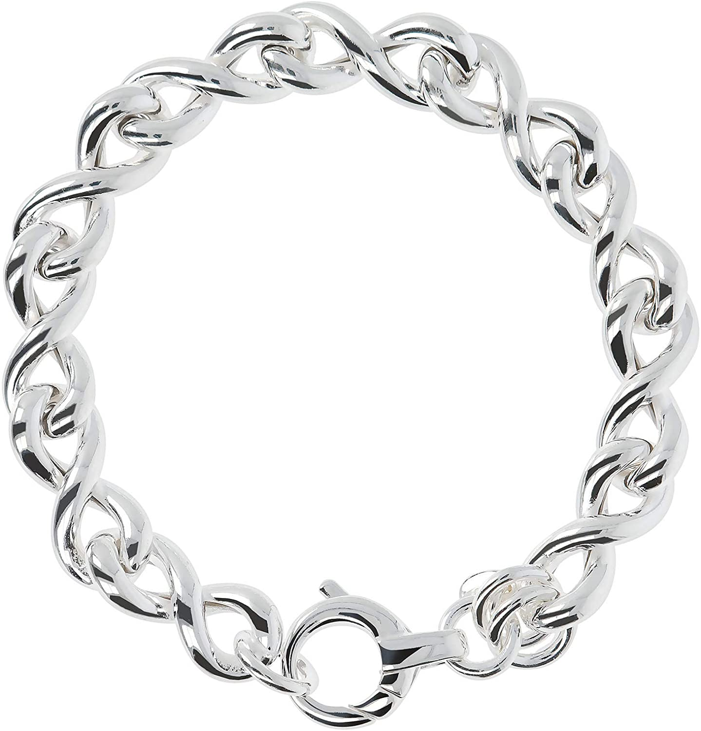 950 Milano Bracelet Sterling Silver 950 Large Infinity Twisted Link Chain for women