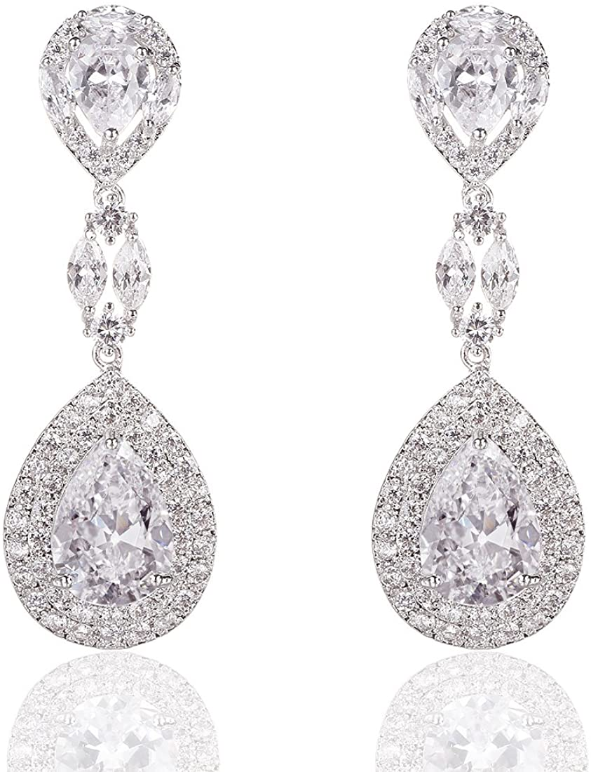 Wordless Love Genuine Rhodium Plated Cubic Zirconia Teardrop Bride Wedding Dangle Pierced Earrings Clear