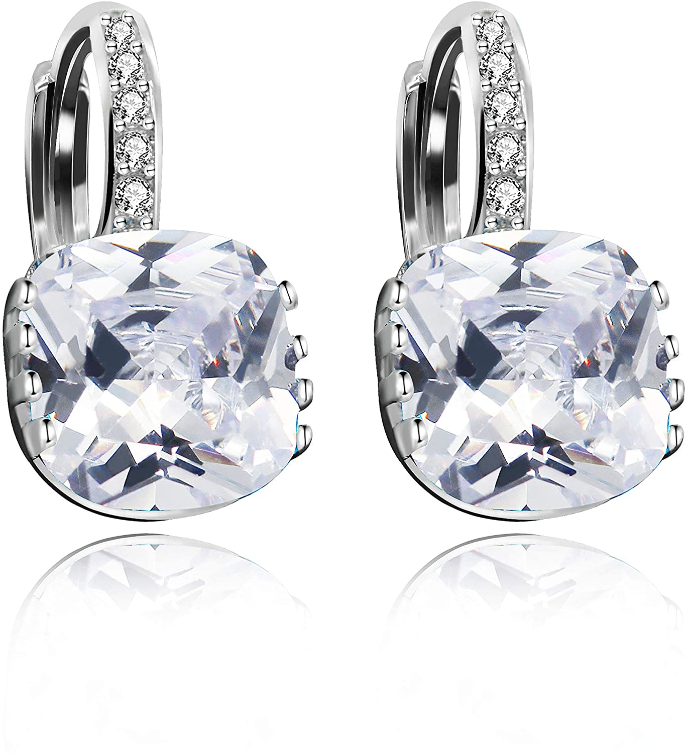 Uloveido Womens Platinum Plated Cubic Zirconia Square Crystal Lever Back Earrings (Blue,Pink,Purple,White) DML115