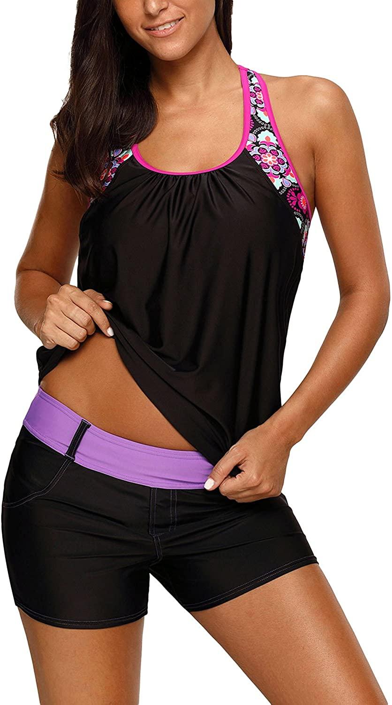 Actloe 2020 Womens Floral Blouson T-Back Swimwear Summer Tankini Top S-XXXL