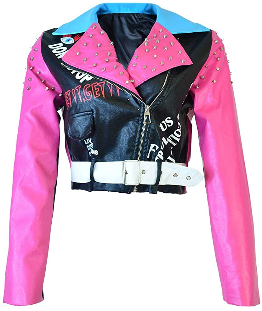 HOMELEX Women's Faux Leather Motorcycle Jacket PU Slim Pink Studded Short Biker Coat