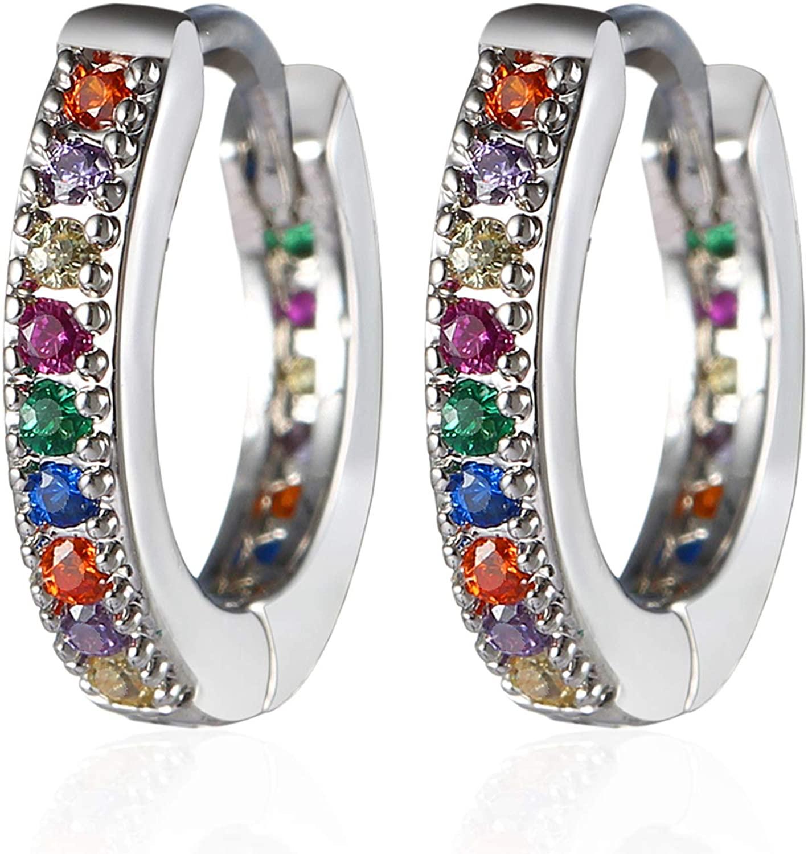 MEIYU Tiny Huggie Hoop Earrings Rainbow CZ Multicolored Cubic Zirconia Cartilage Dainty Hoops 12mm