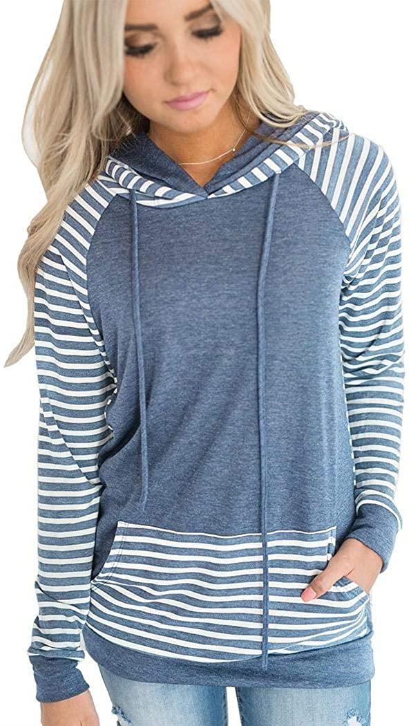Benlet Women Casual Hooded Long Sleeve Patchwork Pocket Hoodie Fashion Hoodies