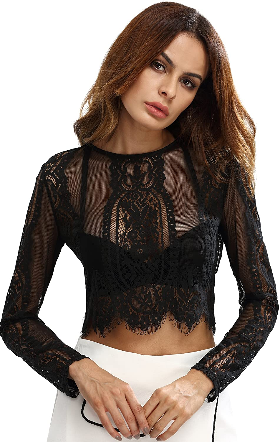 MakeMeChic Women's Scallop Trim Sexy Sheer Blouse Mesh See Through Lace Crop Top
