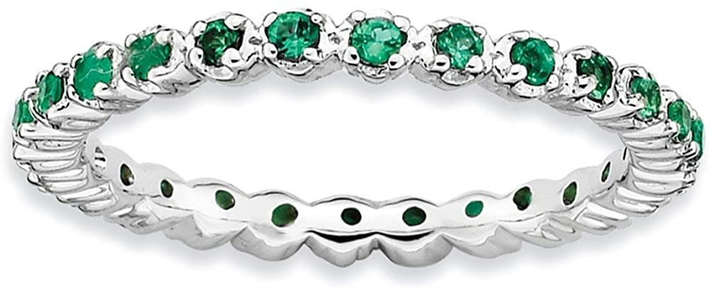 Sterling Silver Stackable Expressions Created Emerald Ring Size 10