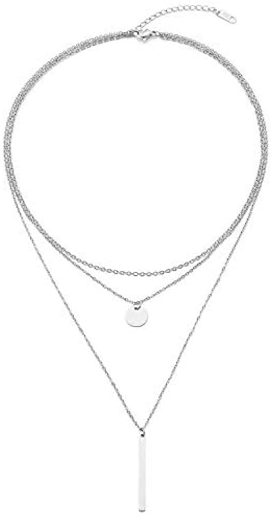 Dainty Layered Long Choker Necklaces for Women Girls Fashion Multilayer Chain Necklace Set Adjustable Bestie Gifts Silver