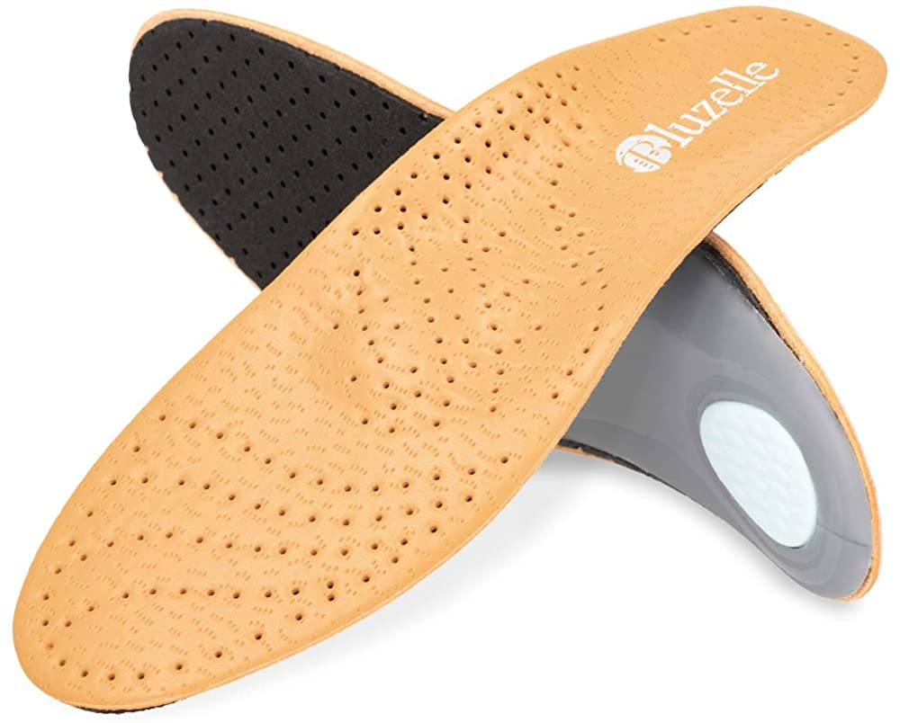BLUZELLE Genuine Leather Insoles with Arch Support, Breathable Comfort Shoe Insert for Relief + Strengthening