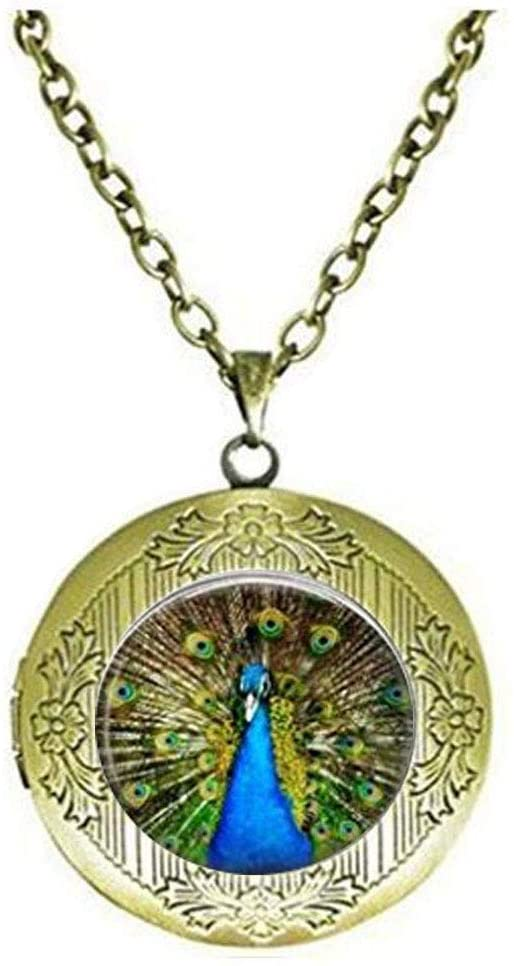 jianjin Peacock Locket Necklace, Animal Locket Necklace Bird Jewelry