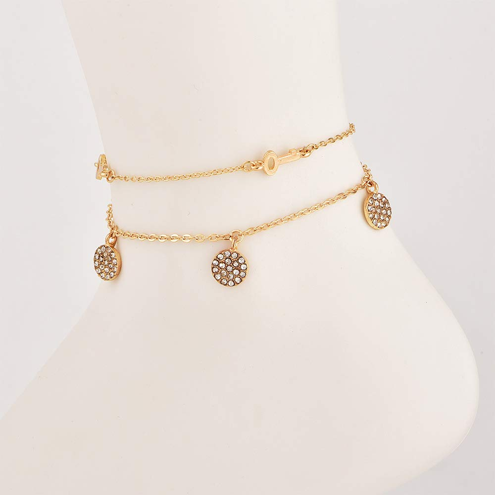 Jovono Multilayered Crystal Tassels Anklets Key Anklet Bracelets Fashion Beach Foot Jewelry for Women and Girls (Gold)