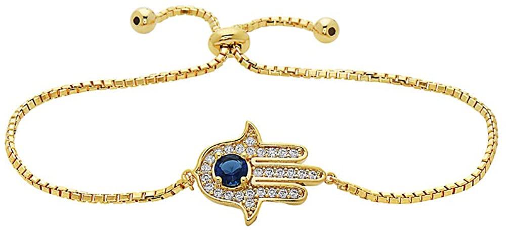 925 Sterling Silver CZ Hamsa Charm Adjustable Bracelet- Choose Your Color & Style