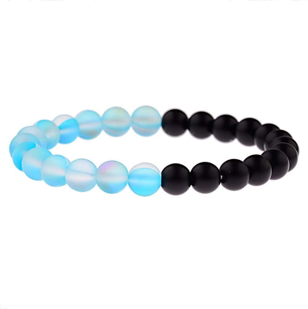 TYT Charm Bracelet Vintage Yellow Glitter Black Stone Beads Bracelet Men Yinyang Prayer Elastic Bracelets for Women,Style 5