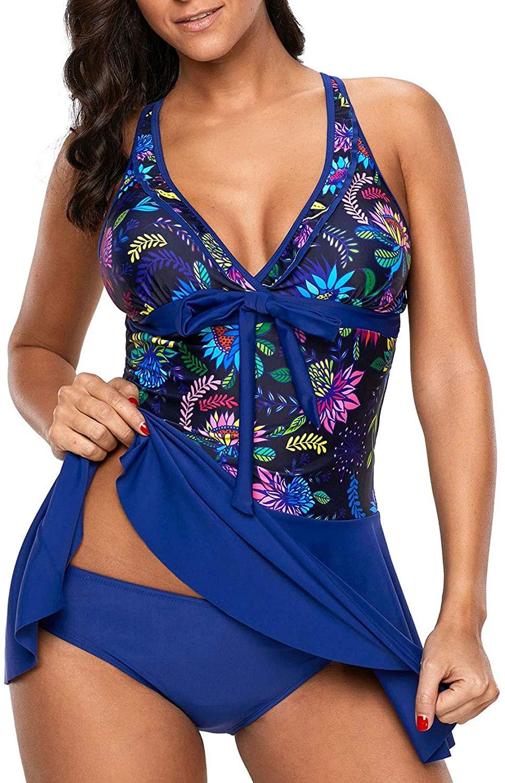 AnnJo Women Two Piece Flyaway Swimsuit Plunge Tummy Control Tankini Swimdress