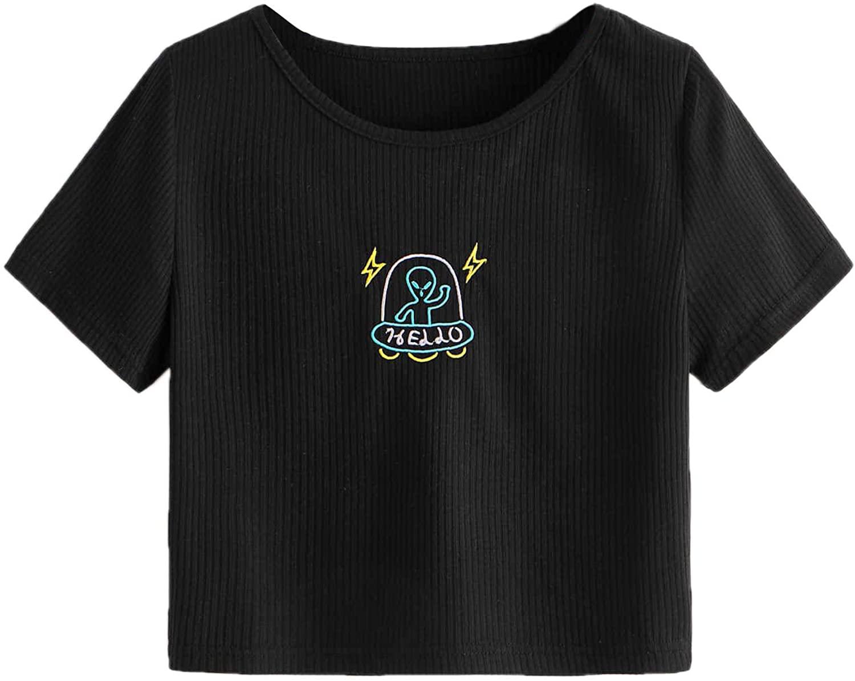 Romwe Womens Casual Rib Knit Short Sleeve Alien Embroidery Crop Tee T-Shirt