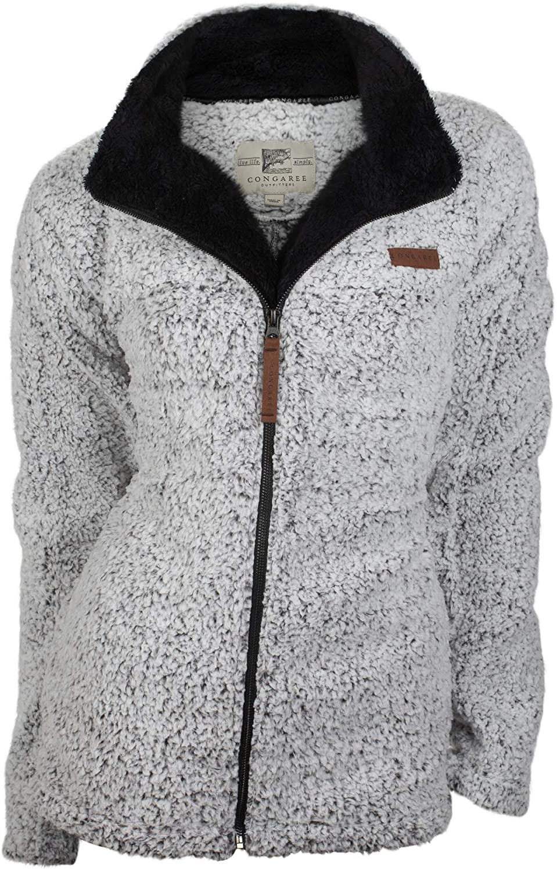 Birchwood Trading Company Women's Graphite and Black Full Zippered Catawba Polyester Fleece Jacket