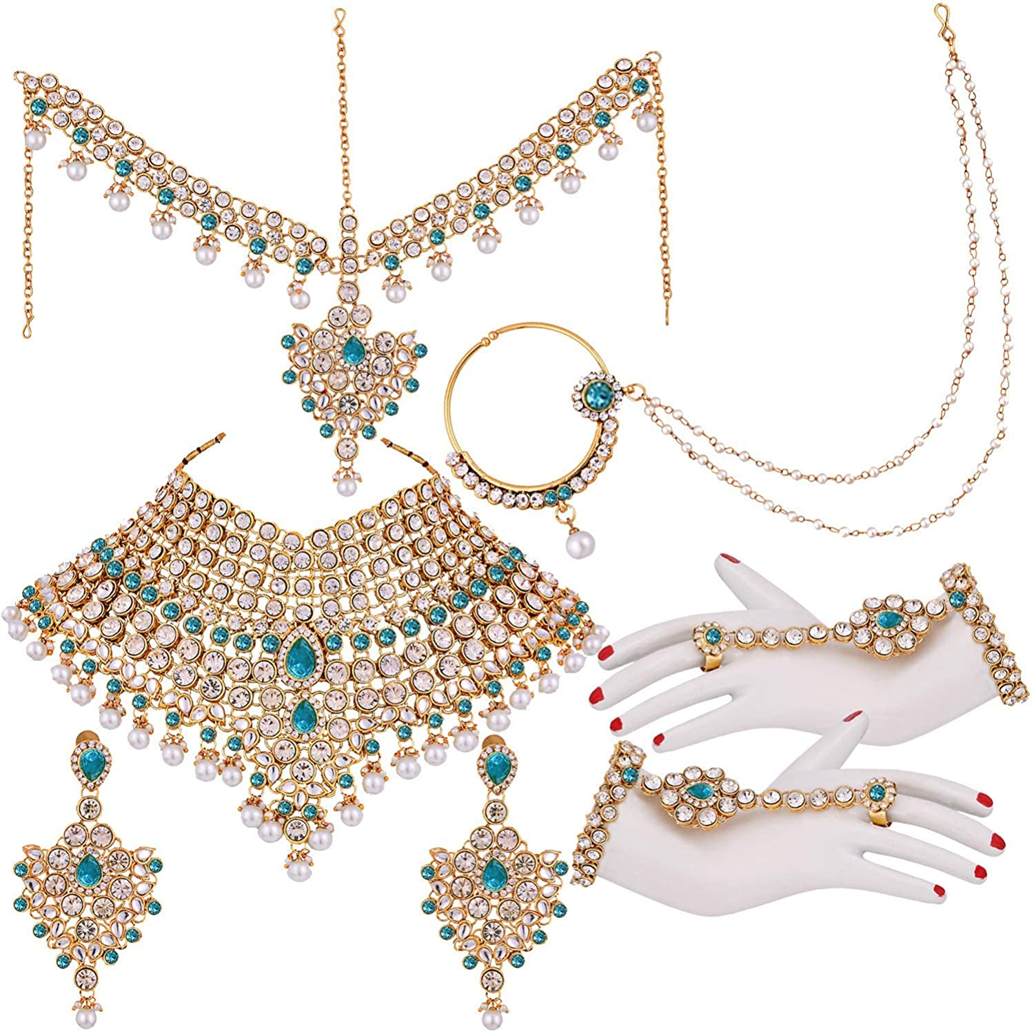 I Jewels Traditional Gold Plated Kundan Ethnic Bridal Jewellery Set for Women (BLP021SB)