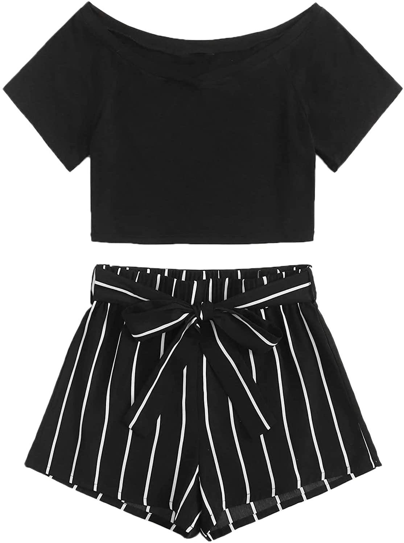 Verdusa Women's 2 Piece Outfit Short Sleeve Crop Tee Top & Striped Mini Shorts Set
