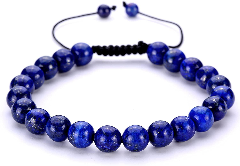 BRCbeads Gemstone Beaded Bracelets Natural Birthstone Healing Power Crystal Beads Macrame Adjustable 7-9 Inch Gift Box